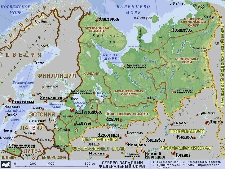Карта СЗФО